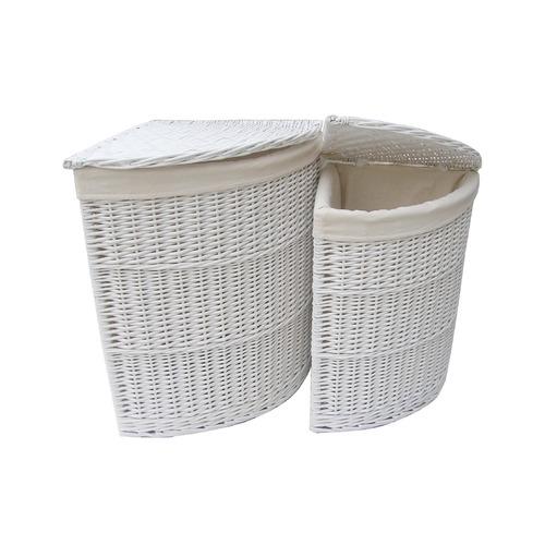 Corner Unit Laundry Basket Set Of 2 Wicker Willow Storage