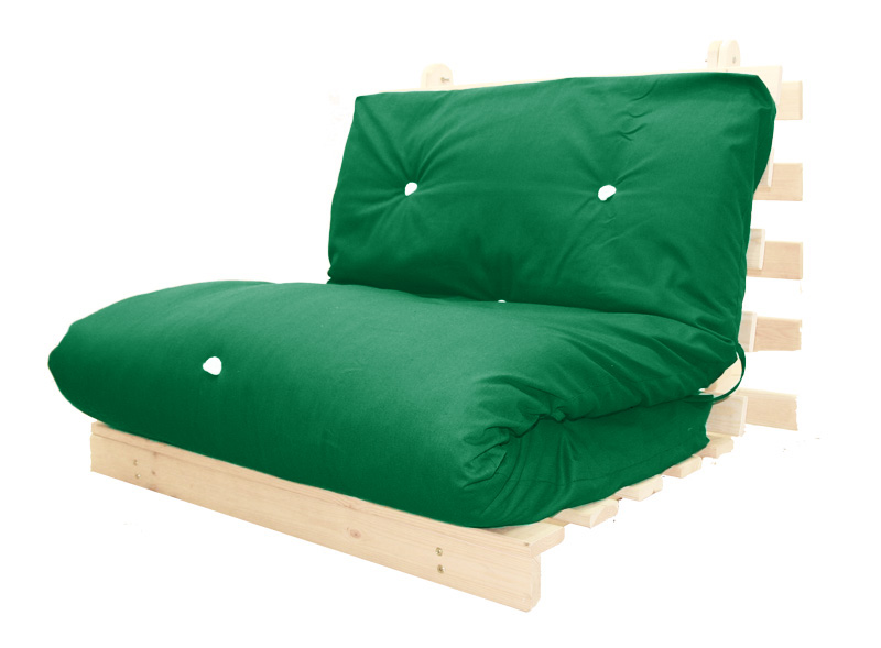 Double Bed 2 Seater Futon Wood Frame Luxury Mattress In