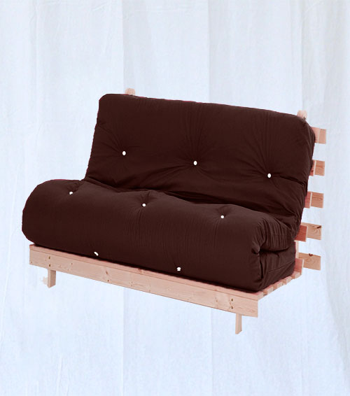 Double Bed 2 Seater Futon Wood Frame Luxury