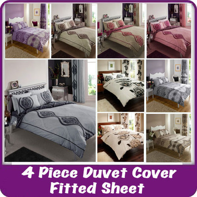 4pc-Complete-Duvet-Quilt-Cover-Set-Fitted-Sheet-Pillowcase-Bedding-Bed-Linen