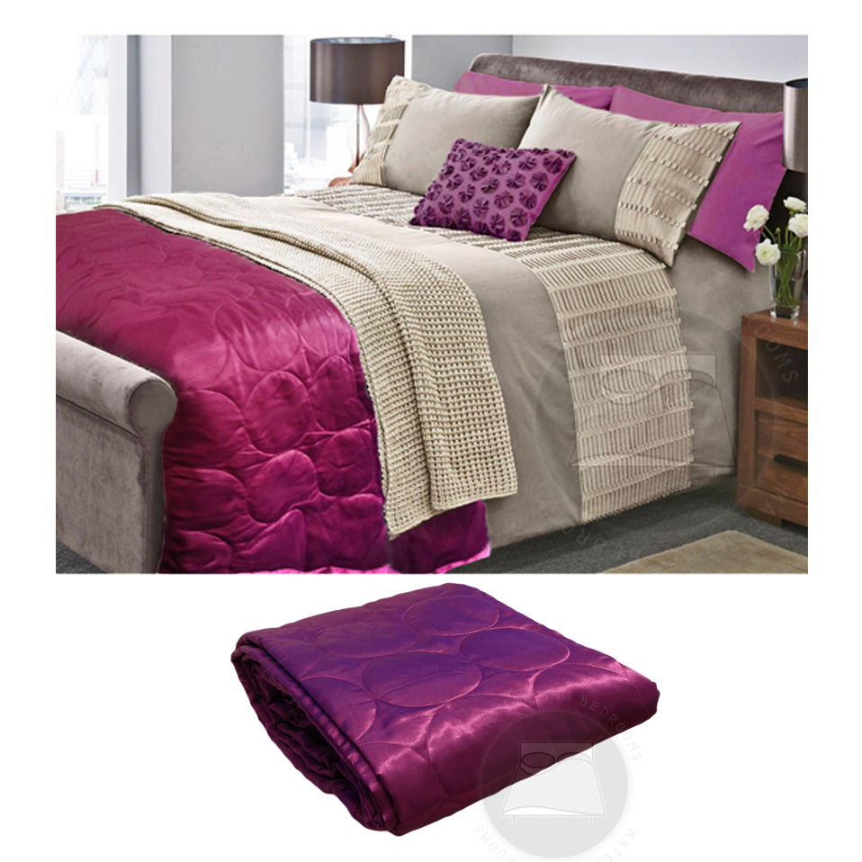 quilted satin faux silk circles bedspread throw runner bedding double king size ebay