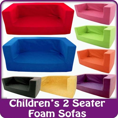 kinder sofa bequem kleinkind schaumstoff jungen m dchen couch 2er sitz ebay. Black Bedroom Furniture Sets. Home Design Ideas