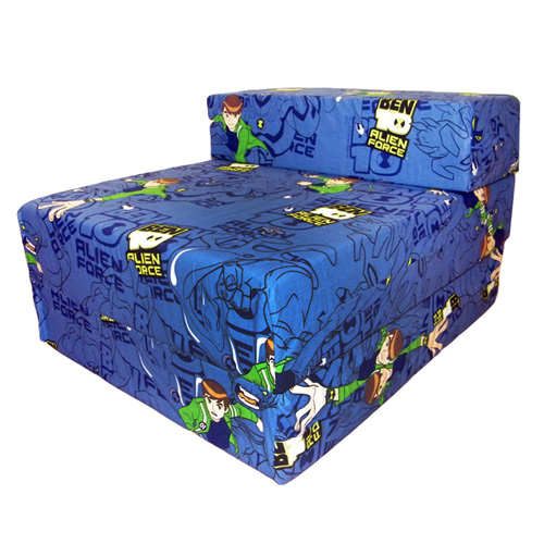 Ben 10 Design Childrens Fold Out Foam Z Bed Futon Kids Guest Chair Sofabed