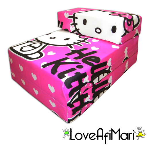 hello kitty design childrens fold out foam z bed futon kids guest chair sofabed ebay. Black Bedroom Furniture Sets. Home Design Ideas