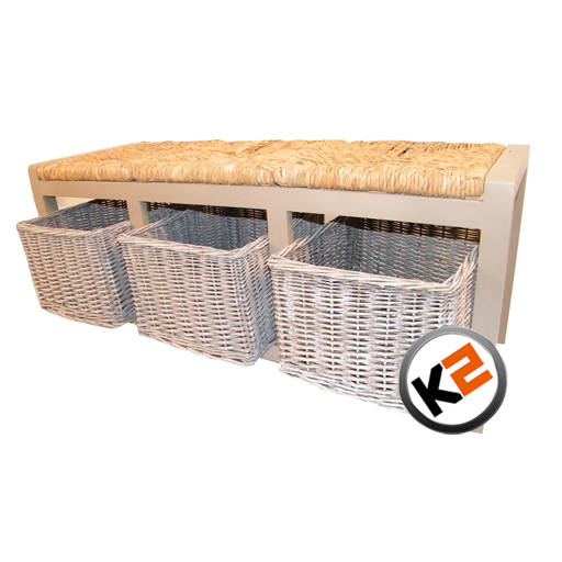 3 Seater Grey Wooden Wicker Rattan Basket Drawers Storage Indoor Bench Seat Ebay