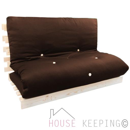 brown double futon wood frame premium luxury mattress