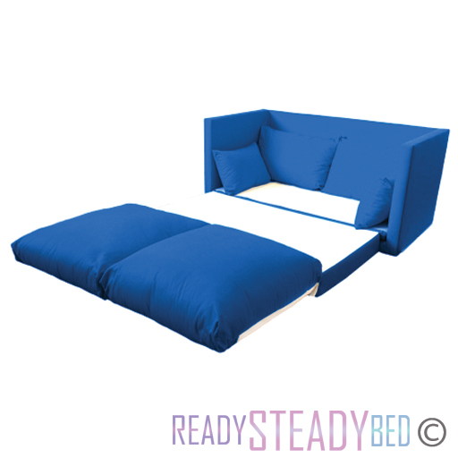 Blue Fold Out Kids 2 Seater Sofa Sleepover Guest Bed Futon Childrens Furniture Ebay