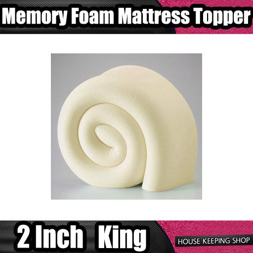 King Bed Size Memory Foam Mattress Topper 2 inch Depth