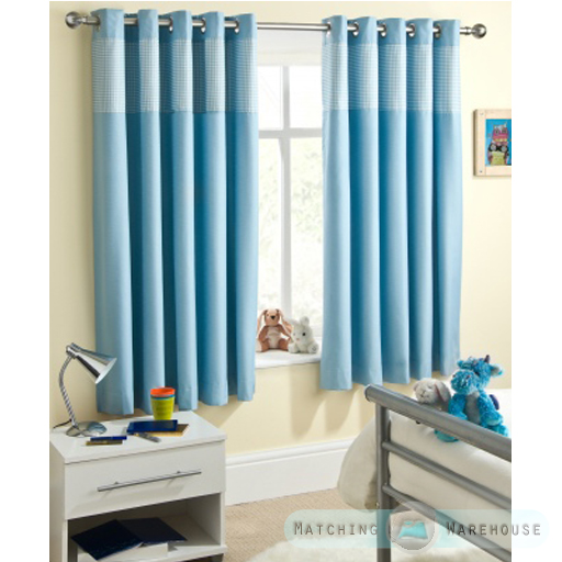 Curtains Ideas boys eyelet curtains : Childrens Gingham Curtain Thermal Blockout Eyelet Ring Top ...