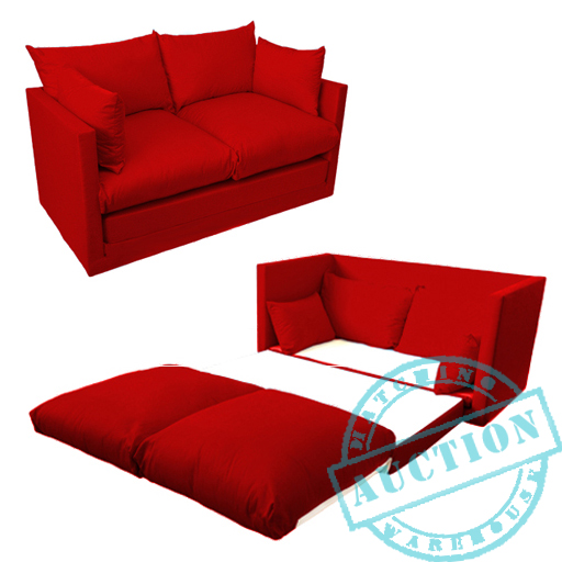Red Fold Out 2 Seater Small Sofa Sofabed Double Guest Bed