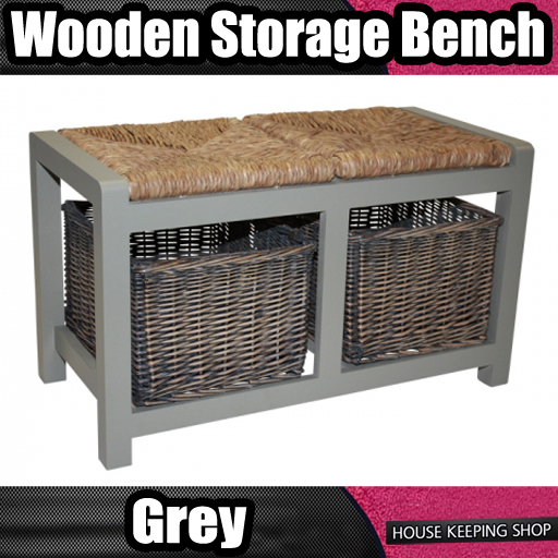 Wicker Rattan 2 Basket Drawer Bench Grey Wood Storage Cabinet Seat Ottoman Ebay
