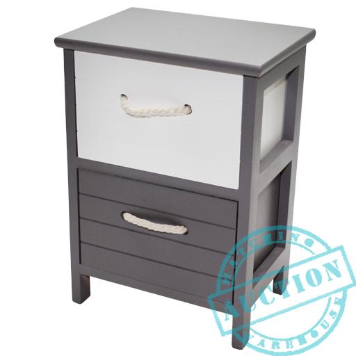 2 Tier Grey White Wooden Storage Chest Cabinet Drawer Side