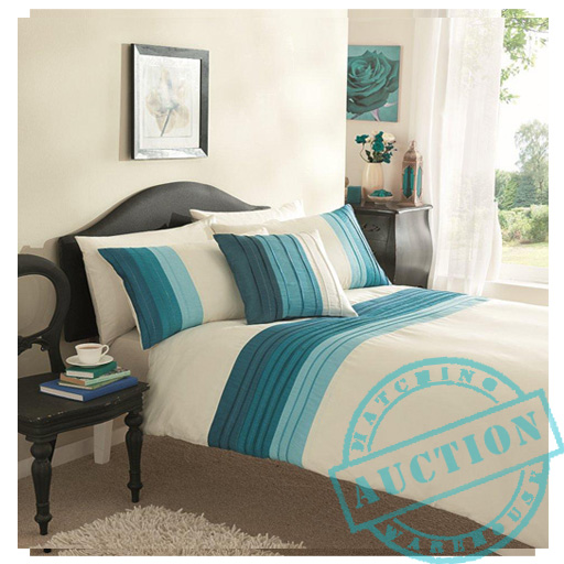 teal pintuck polycotton king size duvet quilt cover set pillowcases bedding. Black Bedroom Furniture Sets. Home Design Ideas