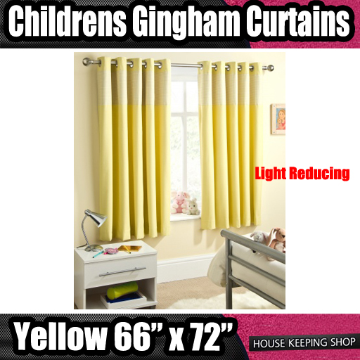 Yellow 66 X 72 Childrens Nursery Gingham Curtains Thermal Blackout Eyelet Ebay