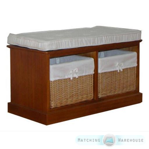 2 3 Seater Wooden Willow Basket Storage Unit Indoor Bench Seat Hallway Padded Ebay
