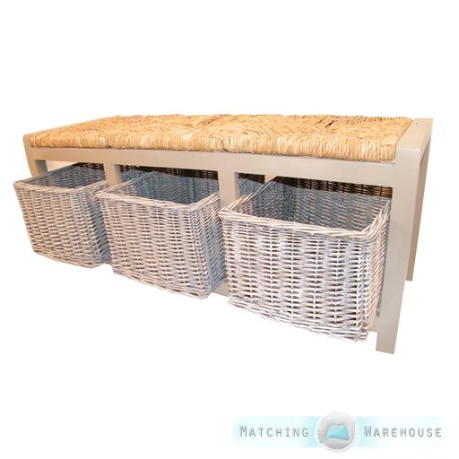 3 wicker rattan basket drawer bench grey wood storage cabinet seat ottoman hall ebay. Black Bedroom Furniture Sets. Home Design Ideas