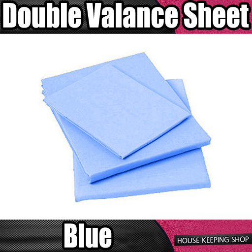 light blue plain dyed ruched fitted valance bed sheet. Black Bedroom Furniture Sets. Home Design Ideas