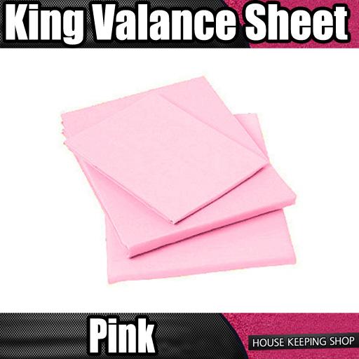 pink plain dyed ruched fitted valance bed sheet king. Black Bedroom Furniture Sets. Home Design Ideas