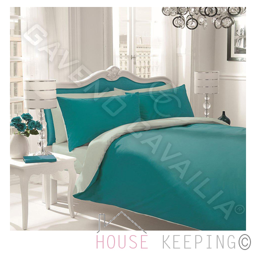 teal duck egg reversible plain dyed polycotton king size duvet quilt cover set ebay. Black Bedroom Furniture Sets. Home Design Ideas