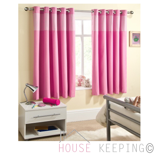 pink 46 x 72 childrens nursery gingham curtains thermal blackout
