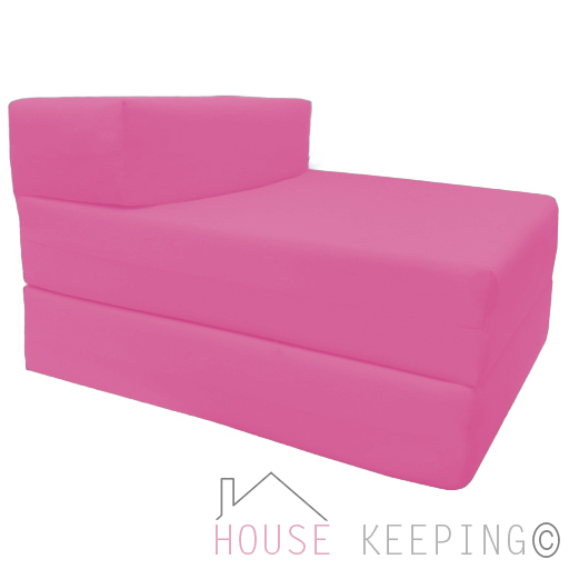 Pink Single Fold Out Foam Z bed Sofabed Guest Chair Bed