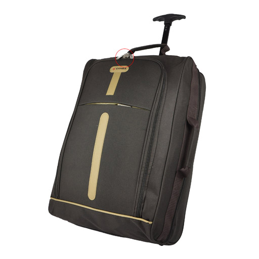 Brown cabin size lightweight wheeled hand luggage trolley for Cabin bag size