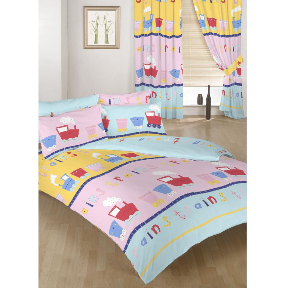trains childrens bedding kids toddler cot cotbed duvet. Black Bedroom Furniture Sets. Home Design Ideas