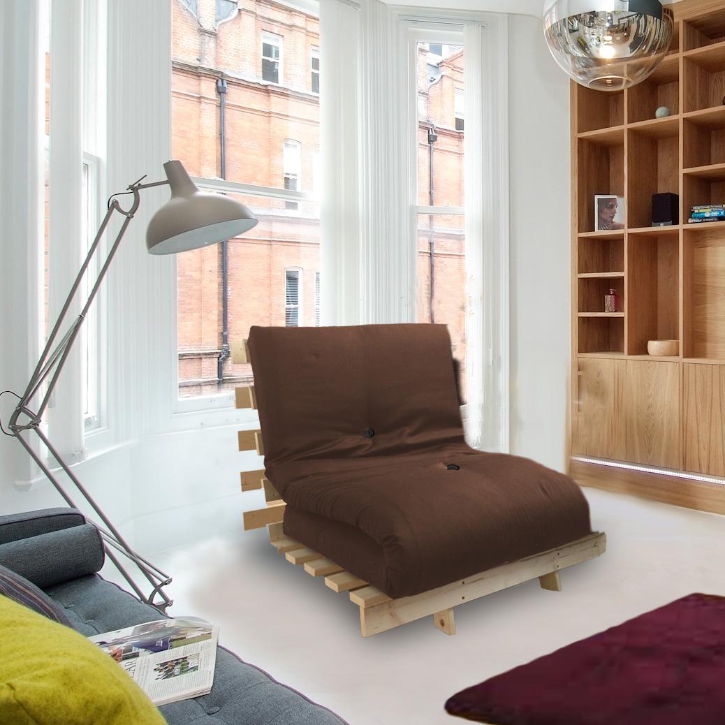 Brown Studio Futon Wooden Frame Sofa Bed Thick Sleeping ...