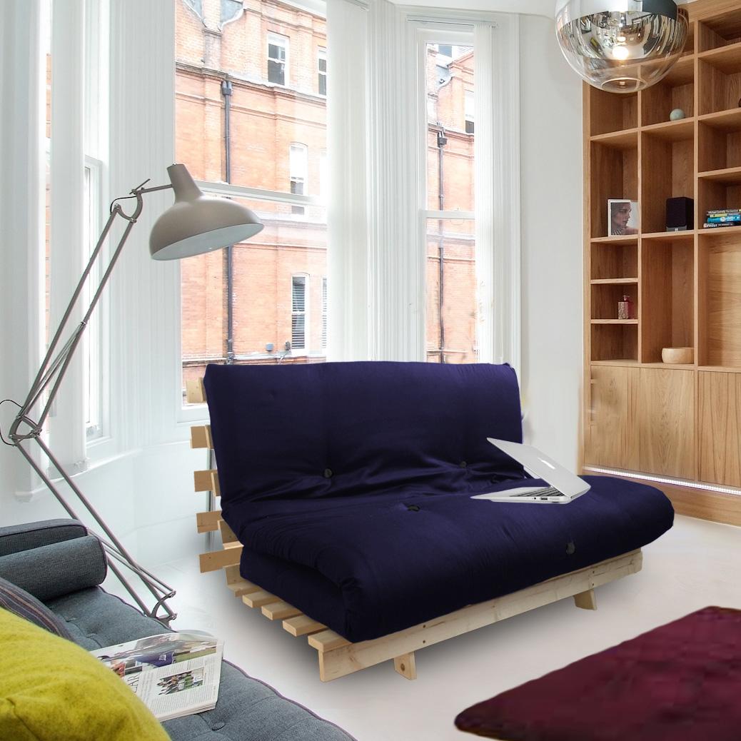 Navy Blue Studio Futon Wooden Frame Sofa Bed Thick
