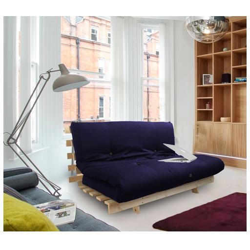 marineblau studio futon schlafsofa holzrahmen dicker schlafmatratze ebay. Black Bedroom Furniture Sets. Home Design Ideas