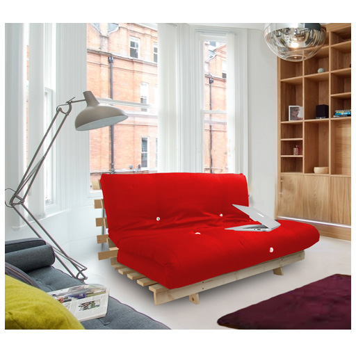 Red Studio Futon Wooden Frame Sofa Bed Thick Sleeping