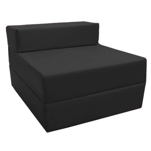Black Fold Out Guest Sofa Z Bed Sleeping Mattress Studio