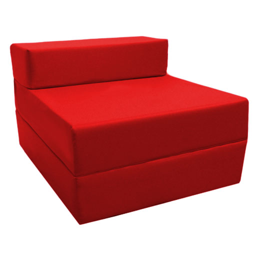 Sofa cama plegable rojo huespedes colchon estudio for Sillon cama plegable