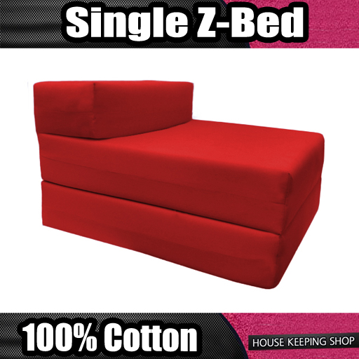 Red Single Fold Out Foam Z bed Sofabed Guest Chair Bed Folding Mattress Futon