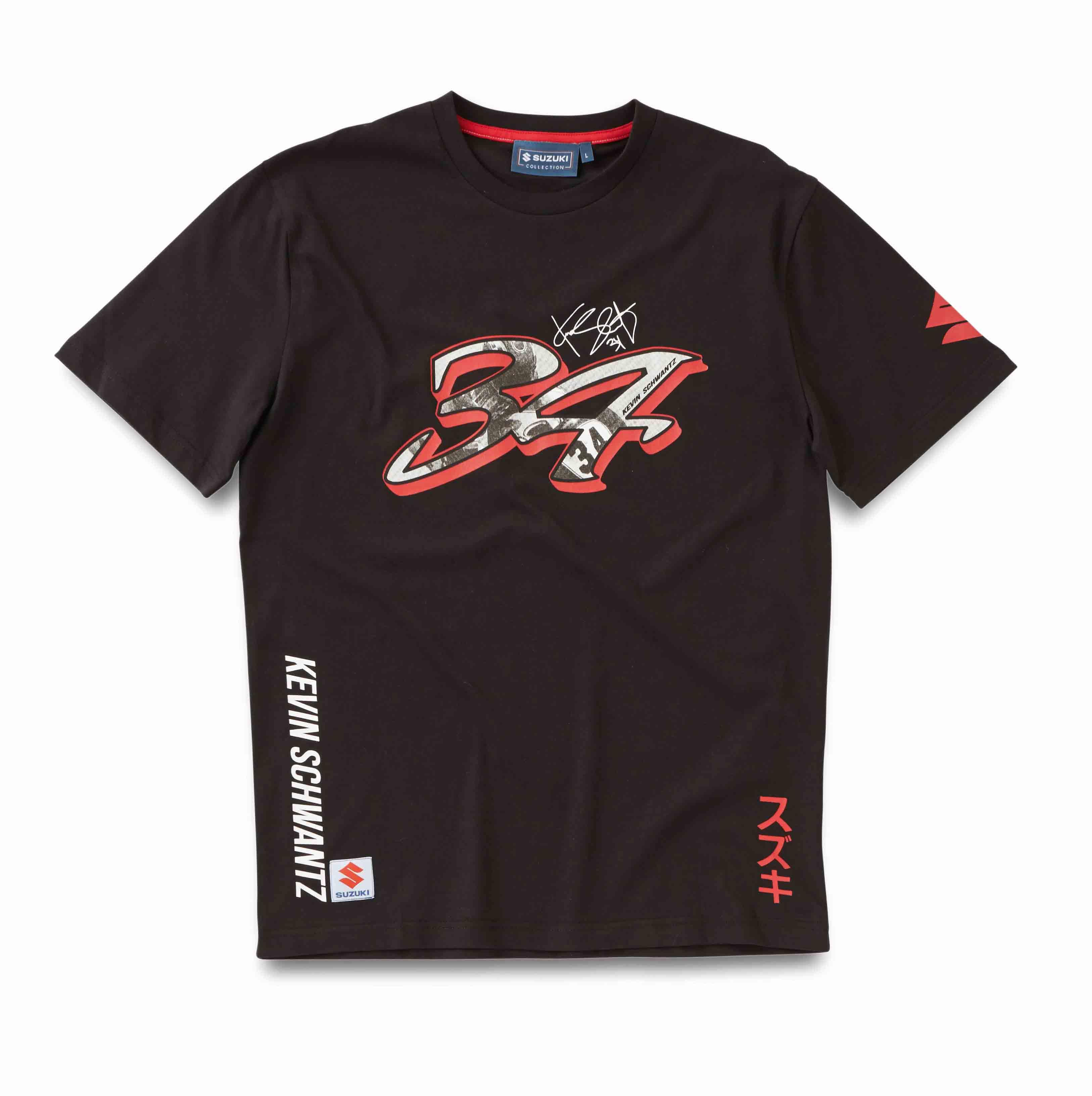 genuine suzuki n34 mens black t shirt kevin schwantz short. Black Bedroom Furniture Sets. Home Design Ideas