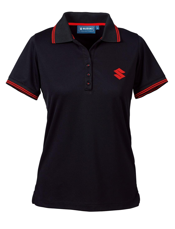 suzuki womens team polo shirt short sleeve collared plain casual black ebay. Black Bedroom Furniture Sets. Home Design Ideas