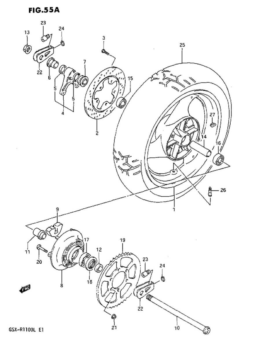 genuine suzuki gsx r1100l model l rear wheel spacer 69412 27a00 000 ebay