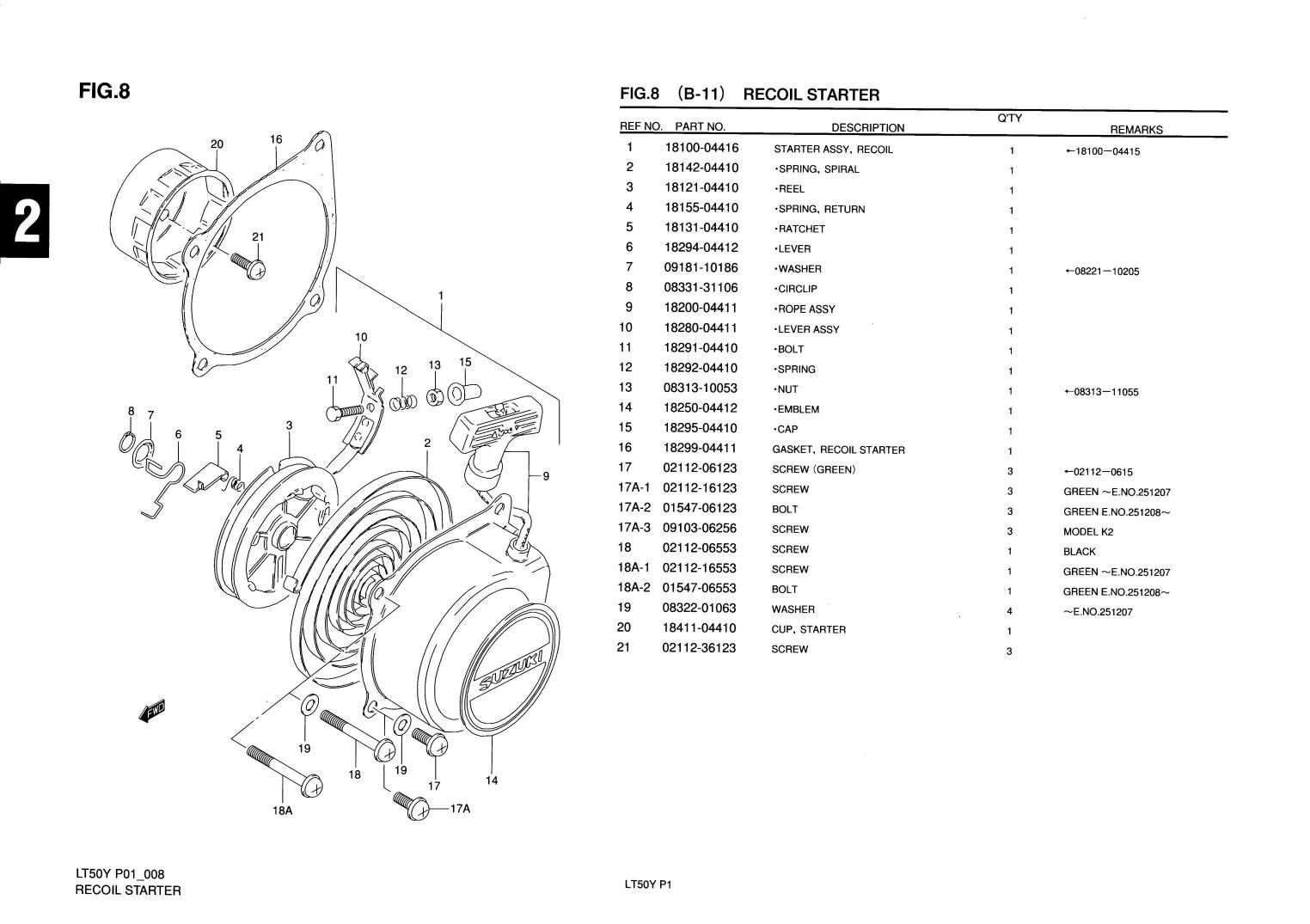 genuine suzuki lt50 mini atv quad recoil starter spiral spring 18142
