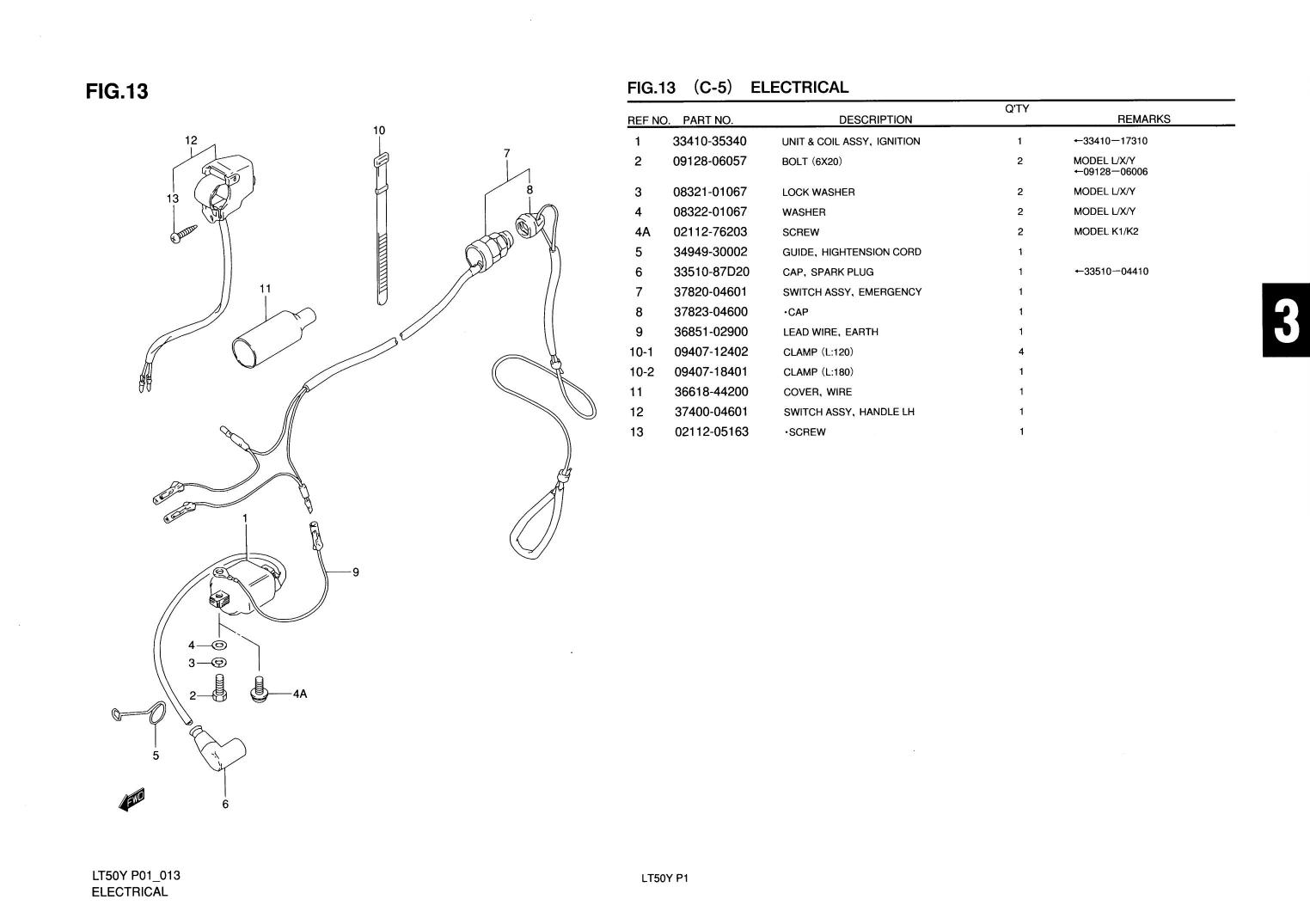 Genuine Suzuki Lt50 Atv Electrical Emergency Switch Assy