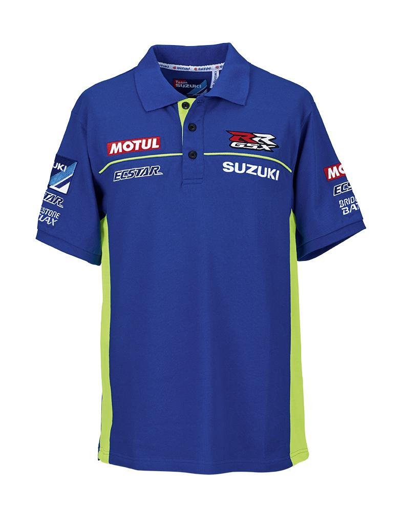 genuine suzuki motogp 2015 ecstar team polo shirt with logo short sleeved cotton. Black Bedroom Furniture Sets. Home Design Ideas