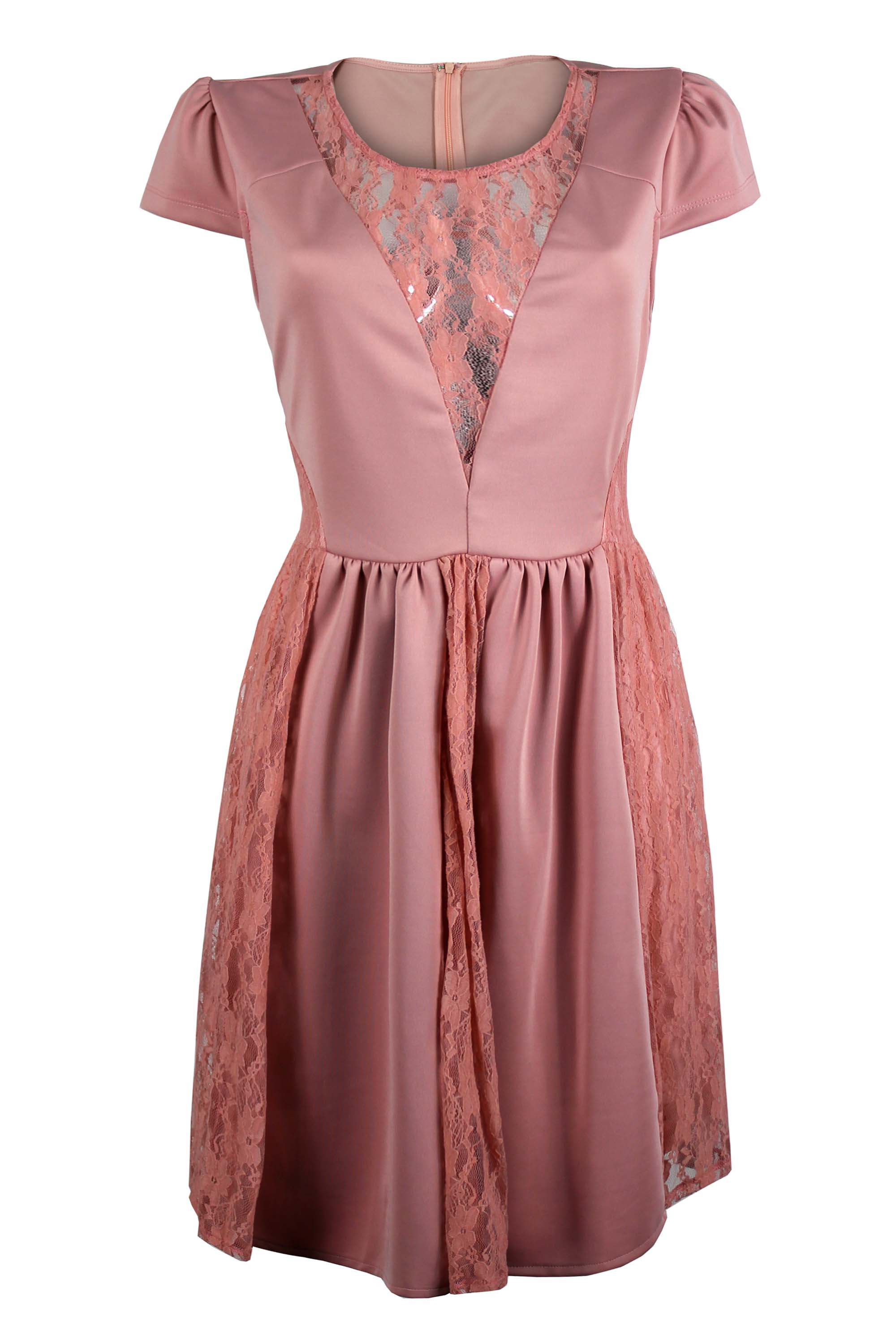 Ladies Womens Baby Pink Lace Contrast Cap Sleeve Dress Ebay