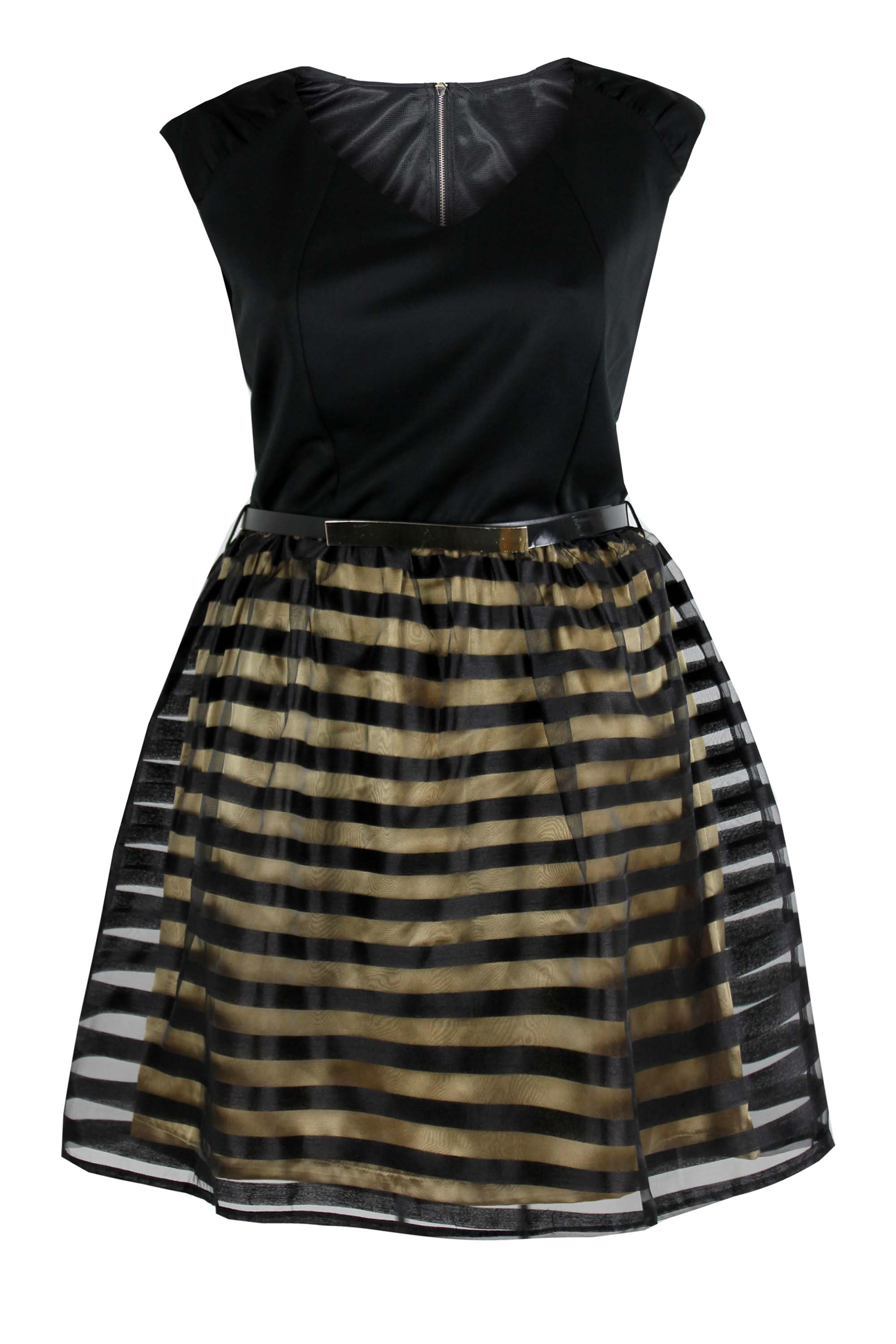2019 year looks- Black and gold plus size dress