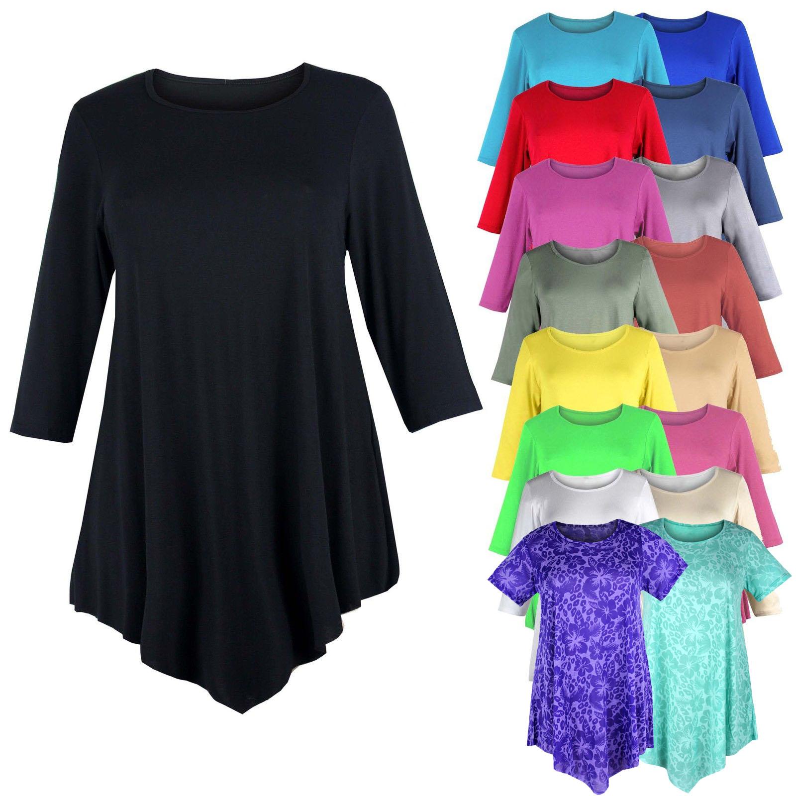 Ladies Womens Plus Size Three Quarter Sleeve Round Neck Tunic