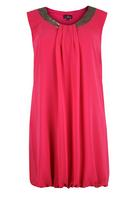 Koko Pink Chiffon Dress With Bubble Hemline and Sequin Trim
