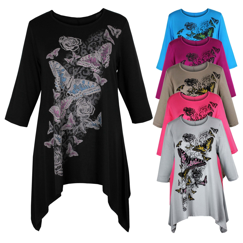 Ladies womens plus size three quarter sleeve butterfly for Three quarter length shirt