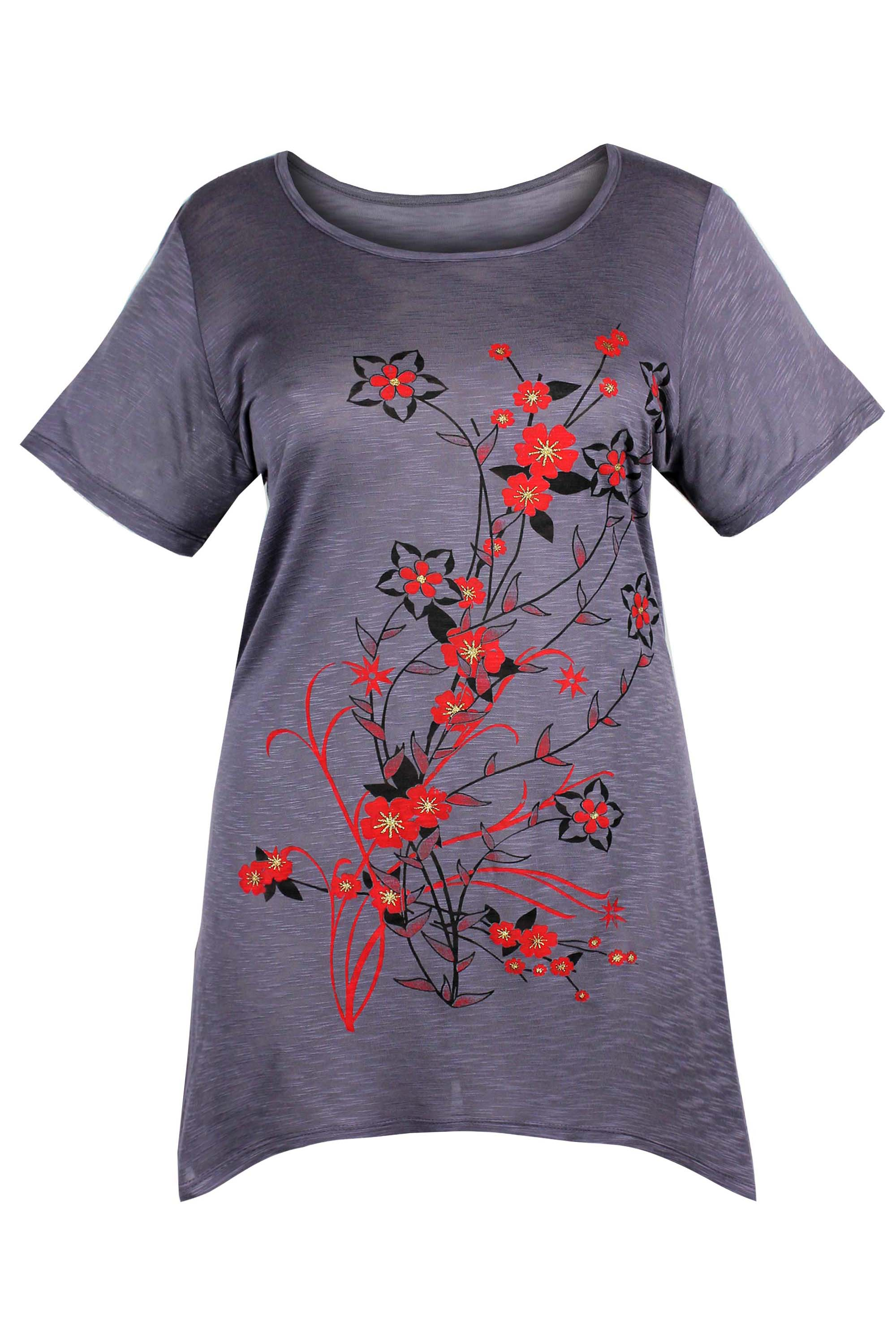Ladies Womens Plus Size Short Sleeve Floral Print T Shirt Top