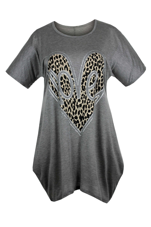 Ladies Womens Plus Size Short Sleeve Asymmetric Loveheart Animal Print Tunic