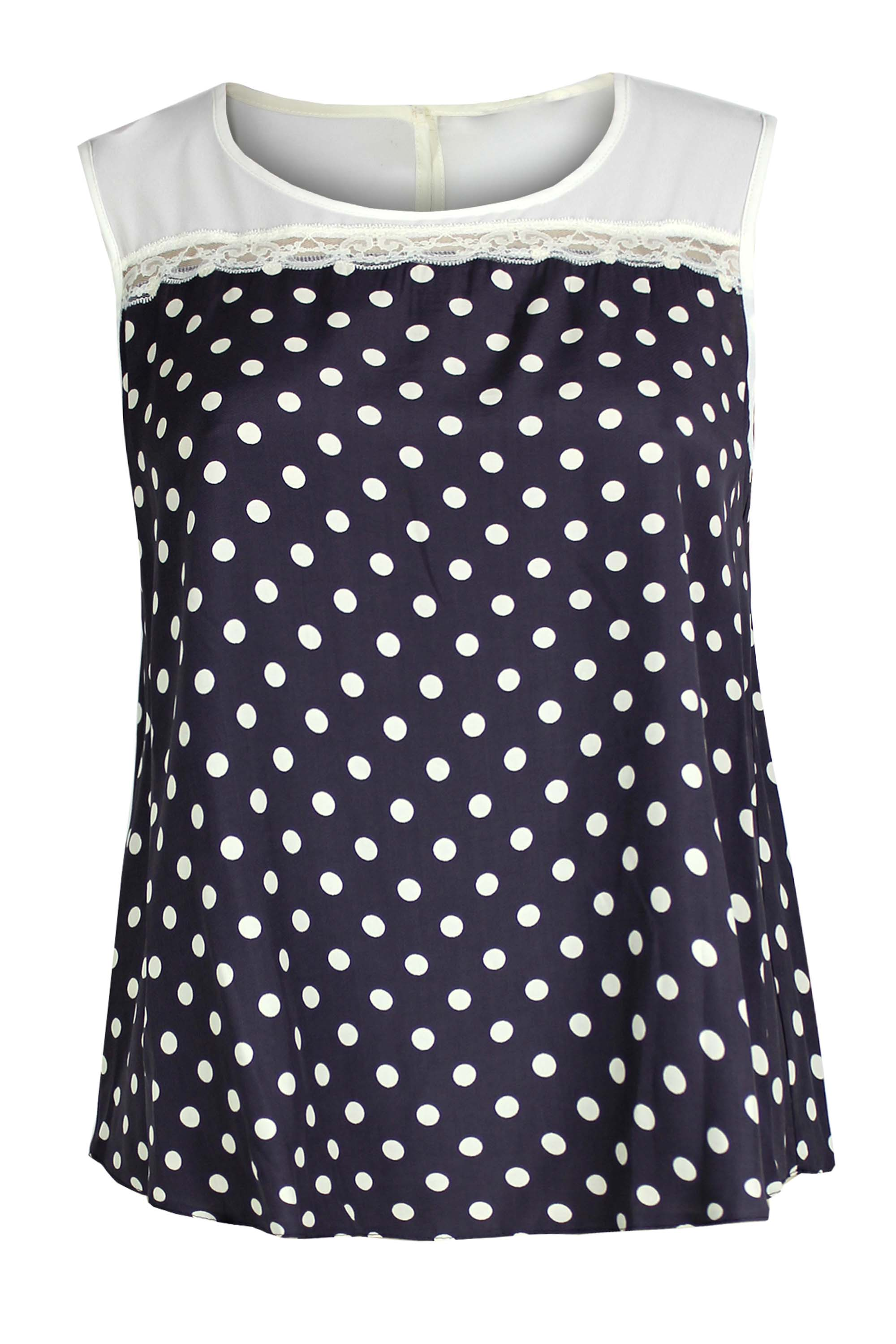 Ladies Womens Plus Size Sleeveless Polka Dot Lace Insert Top