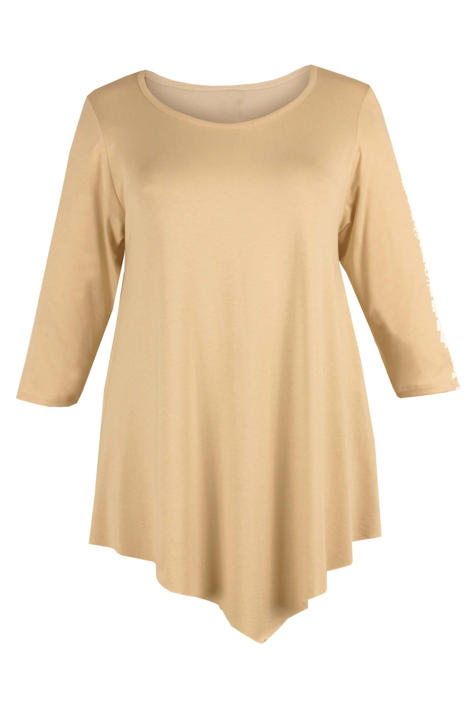 Ladies-Womens-Plus-Size-Three-Quarter-Sleeve-Round-Neck-Tunic
