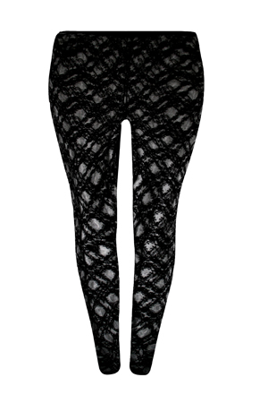 LADIES PLUS SIZE BLACK LACE FULL LENGTH LEGGINGS #375 Trouser Size=18